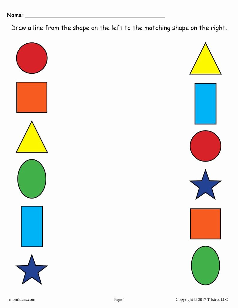Matching Shapes Worksheets for Preschoolers Inspirational Worksheet Shapes Matching Worksheets for Preschool