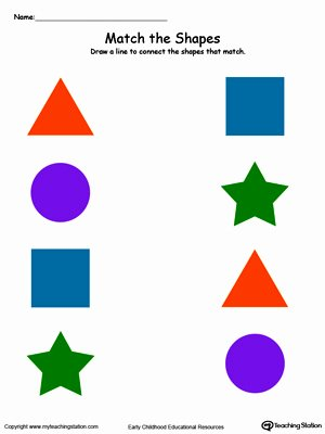 Matching Shapes Worksheets for Preschoolers Lovely Match the Shapes In Color
