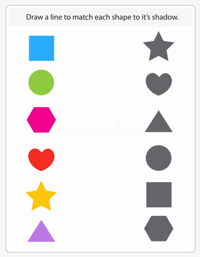 Matching Worksheets for Preschoolers New Kids Worksheet Matching Shapes and Shadows Stock Vector