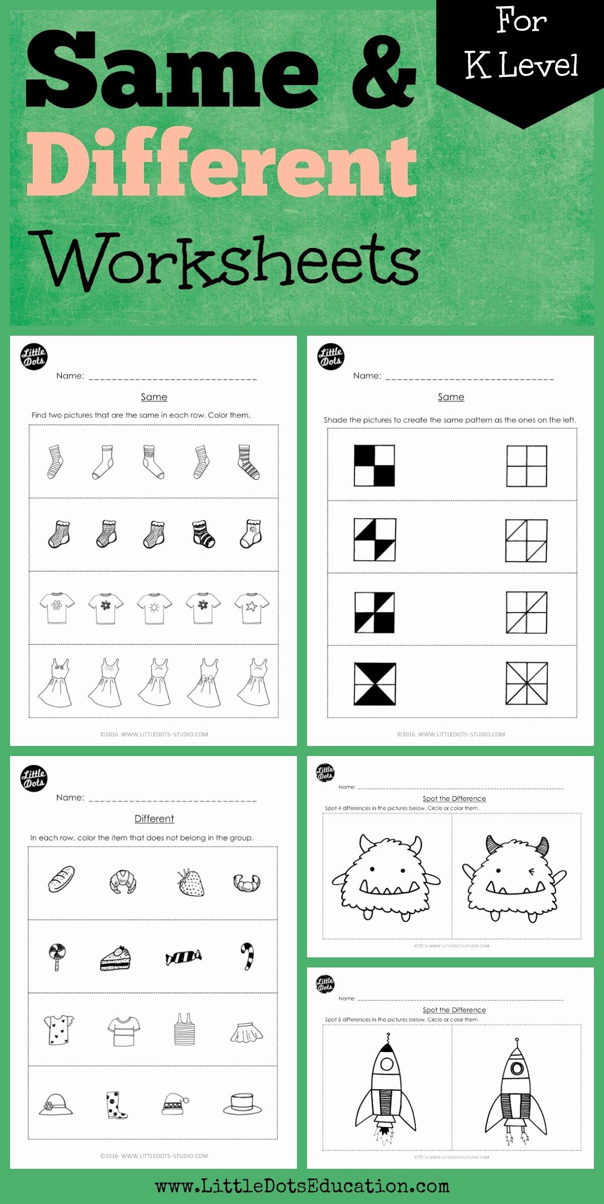 Math Concept Worksheets for Preschoolers Best Of Kindergarten Same and Different Worksheets and Activities