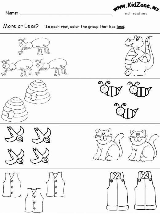 Math Concept Worksheets for Preschoolers Free How to Teach More and Less