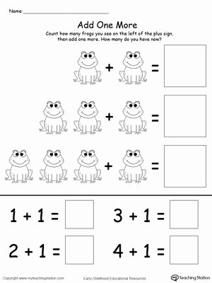 Math Concept Worksheets for Preschoolers Ideas Add E More Frog Addition