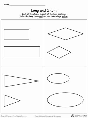 Math Concept Worksheets for Preschoolers New Long and Short Shapes