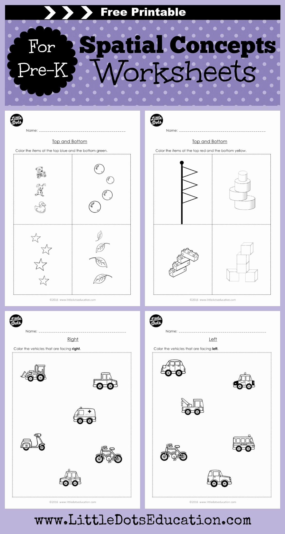 Math Concept Worksheets for Preschoolers Printable Pre K Spatial Concepts Worksheets and Activities