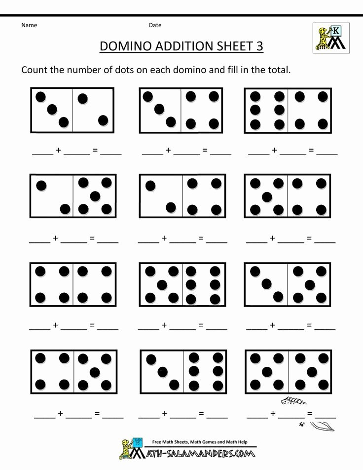 Mathematics Worksheets for Preschoolers Lovely Printable Kindergarten Math Worksheets Domino Addition 3