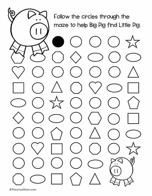 Maze Worksheets for Preschoolers Fresh Shape Mazes for Preschoolers Preschool Mom
