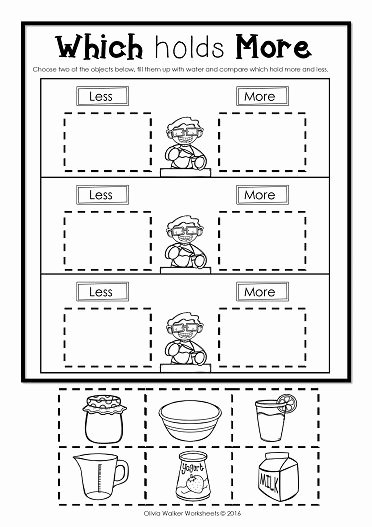 Measurement Worksheets for Preschoolers Free Capacity Printables Non Standard Measurement Free