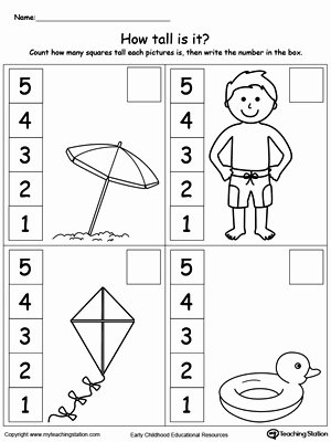 Measurement Worksheets for Preschoolers Inspirational Kindergarten Measurement Printable Worksheets