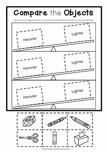 Measurement Worksheets for Preschoolers Kids Weight Worksheets Non Standard Measurement Kindergarten