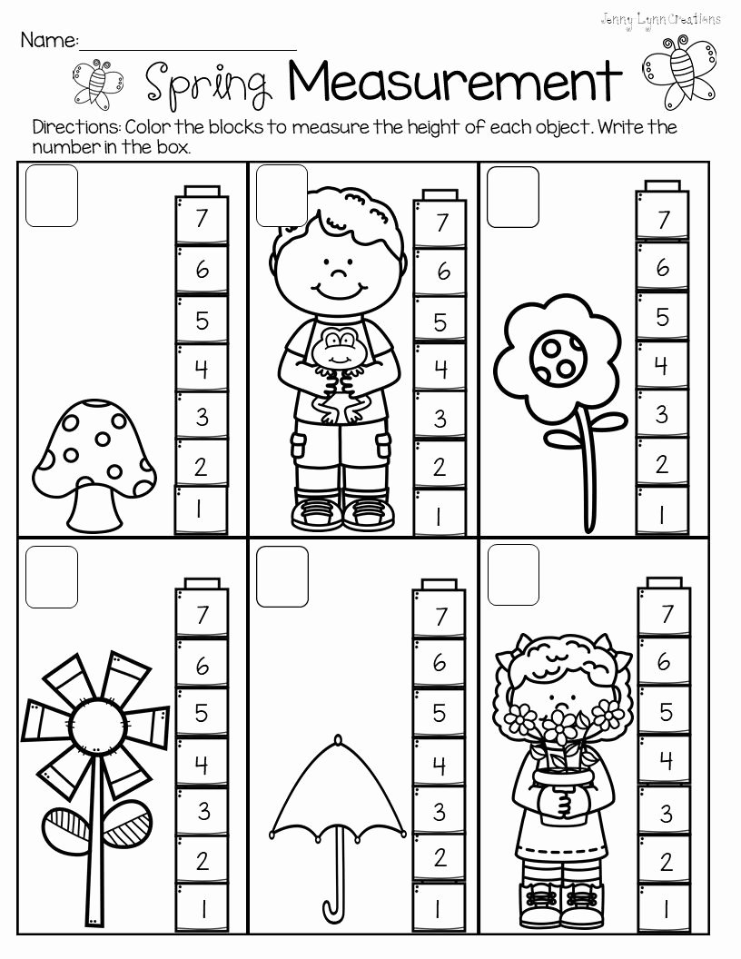 Measurement Worksheets for Preschoolers New Spring Measurement Non Standard Measurement Packet for Pre