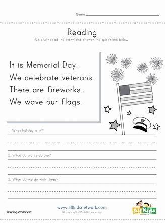 Memorial Day Worksheets for Preschoolers Inspirational Memorial Day Reading Prehension Worksheet
