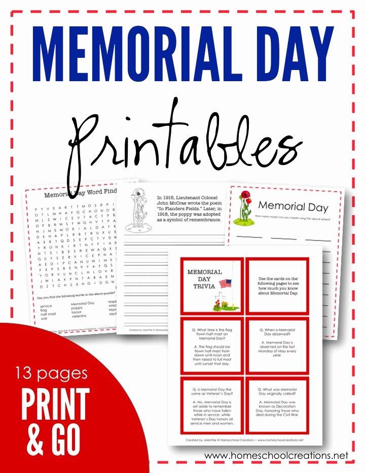 Memorial Day Worksheets for Preschoolers Kids Memorial Day Printables