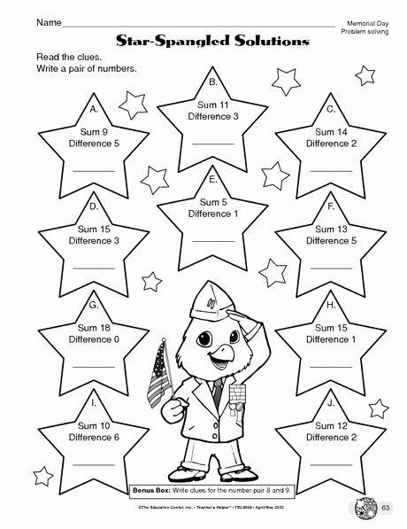 Memorial Day Worksheets for Preschoolers Kids Memorial Day Worksheet Problem solving the Mailbox