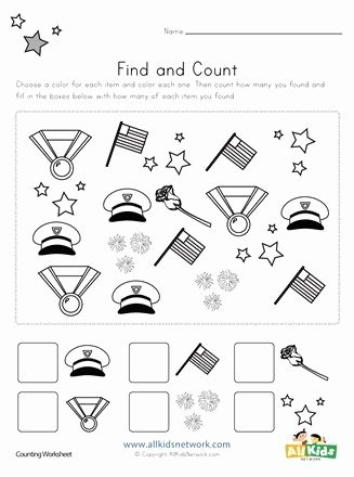 Memorial Day Worksheets for Preschoolers Lovely Memorial Day Find and Count Worksheets