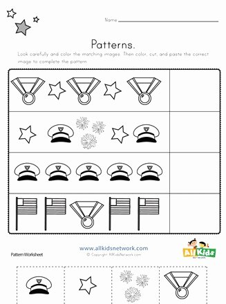 Memorial Day Worksheets for Preschoolers New Memorial Day Cut and Paste Patterns Worksheet
