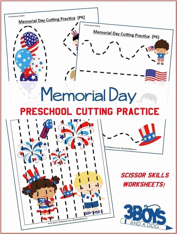 Memorial Day Worksheets for Preschoolers Printable Memorial Day Preschool Cutting Practice Worksheets – 3 Boys