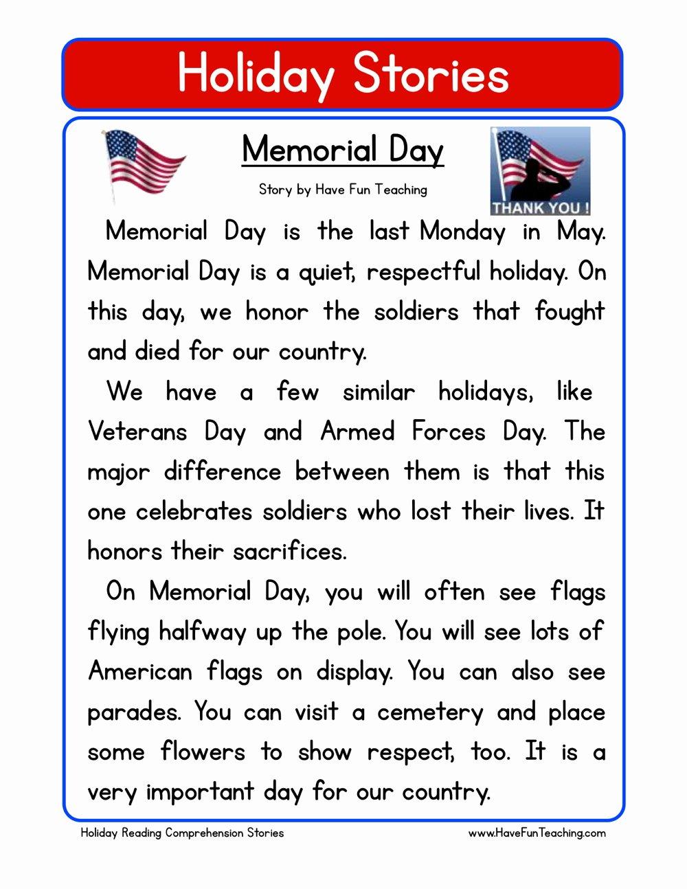Memorial Day Worksheets for Preschoolers top Memorial Day Reading Prehension Worksheet
