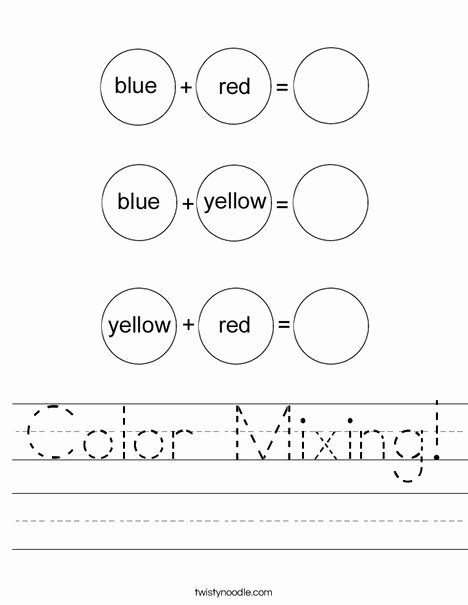 Mixing Colors Worksheets for Preschoolers Fresh Color Mixing Worksheet