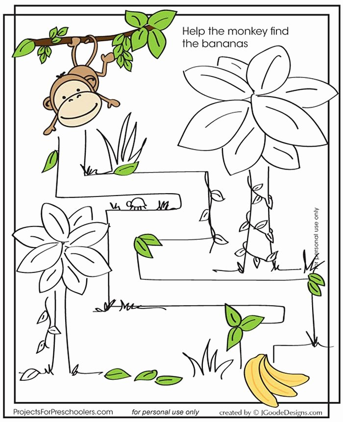 Monkey Worksheets for Preschoolers Kids Monkey Maze