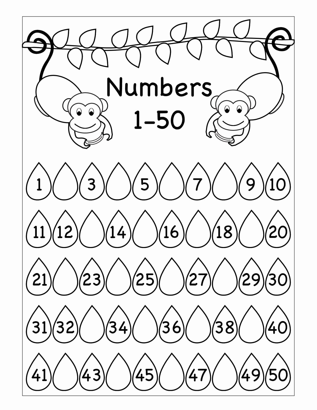Monkey Worksheets for Preschoolers New Worksheets Missing Numbers Worksheet Printable Worksheets