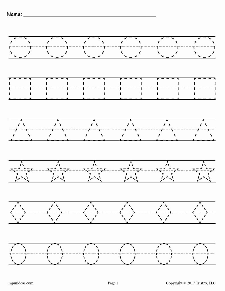 Montessori Worksheets for Preschoolers Printable Shapes Tracing Worksheets