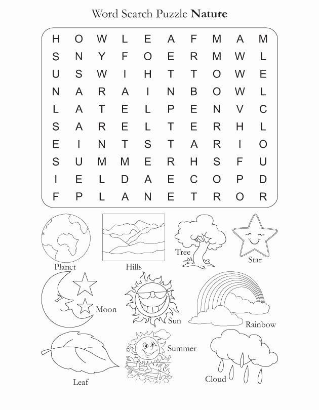 Nature Worksheets for Preschoolers Printable Word Search Puzzle Nature