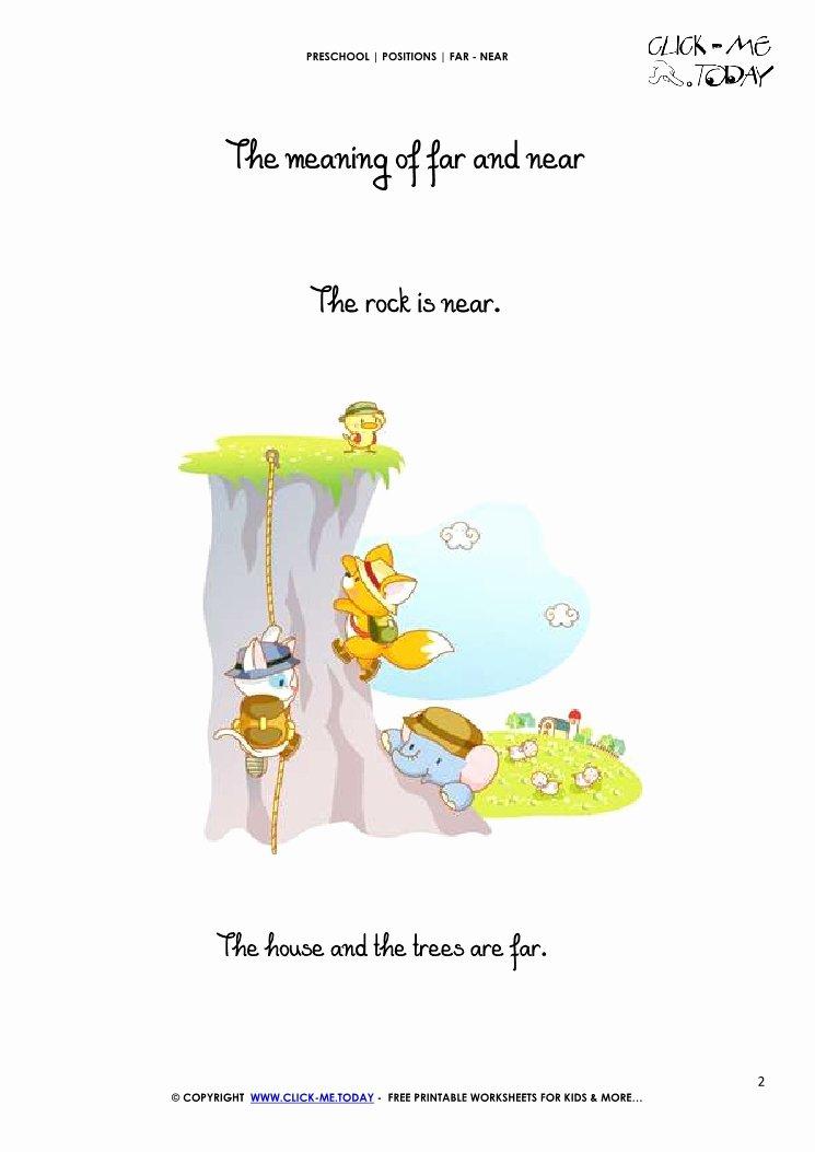 Near and Far Worksheets for Preschoolers Inspirational Far Near Card 2