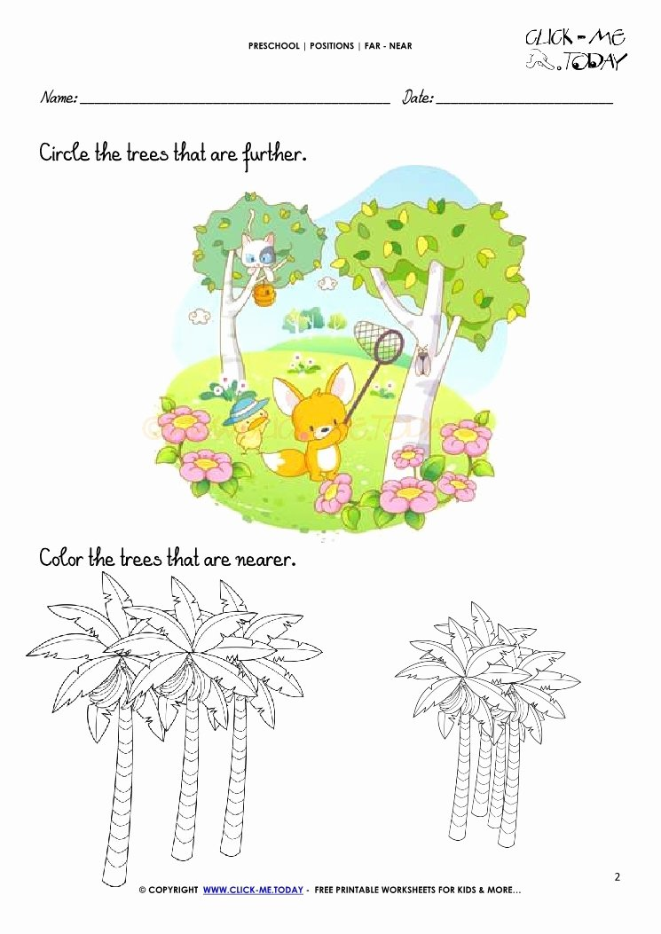 Near and Far Worksheets for Preschoolers Inspirational Far Near Worksheet 2
