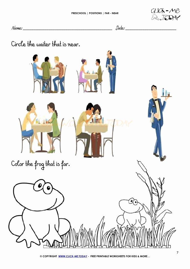 Near and Far Worksheets for Preschoolers Inspirational Far Near Worksheet 7