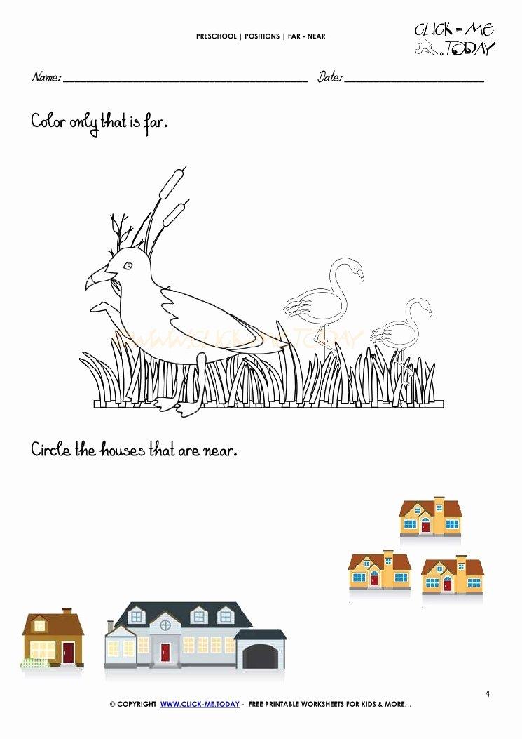 Near and Far Worksheets for Preschoolers Printable Far Near Worksheet 4
