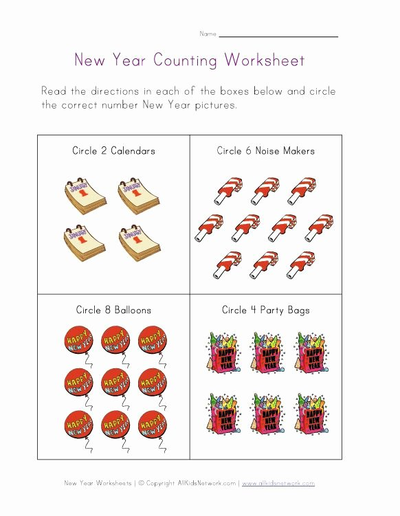 New Year Worksheets for Preschoolers Free New Year Worksheets for Kids