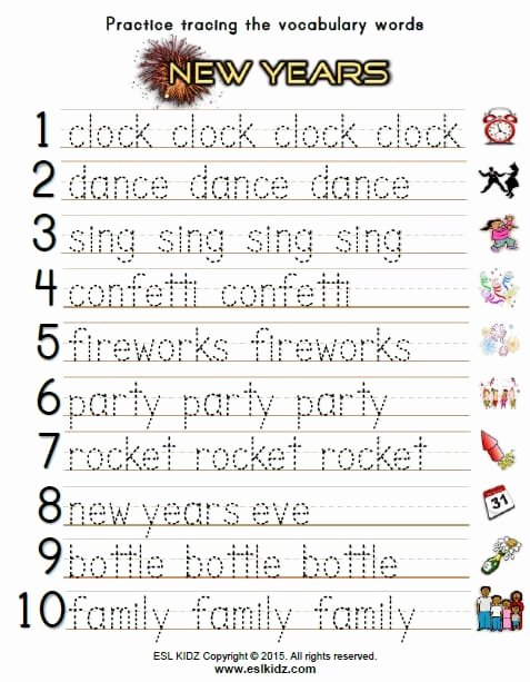 New Year Worksheets for Preschoolers Free New Years Activities Games and Worksheets for Kids