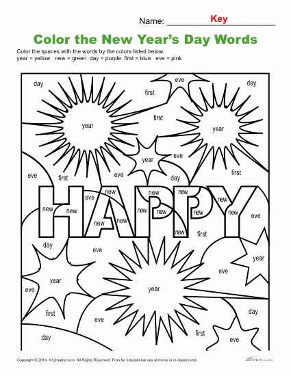 New Year Worksheets for Preschoolers Ideas Color the Words Printable New Year Activity Worksheets
