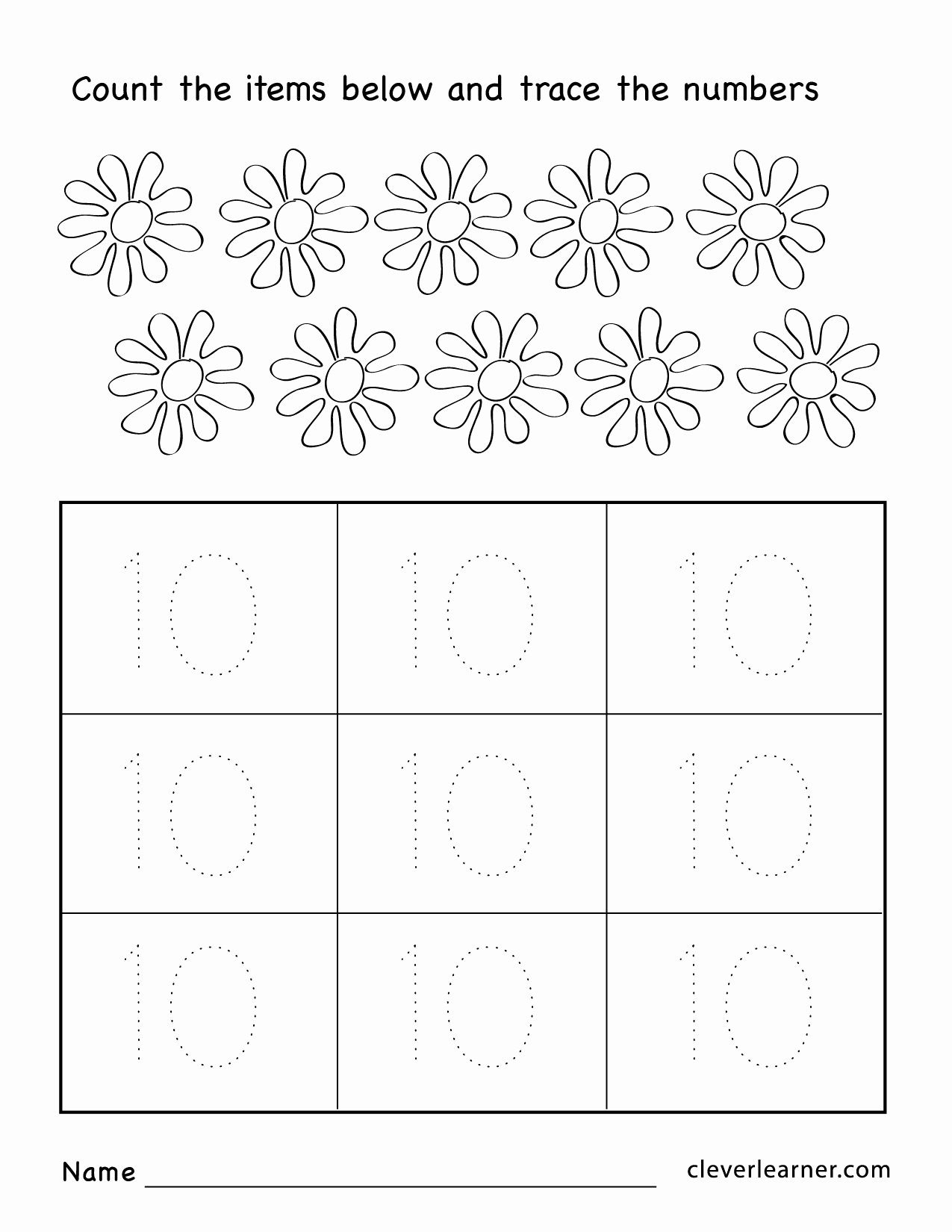 Number 10 Worksheets for Preschoolers Best Of Number Ten Writing Counting and Identification Printable