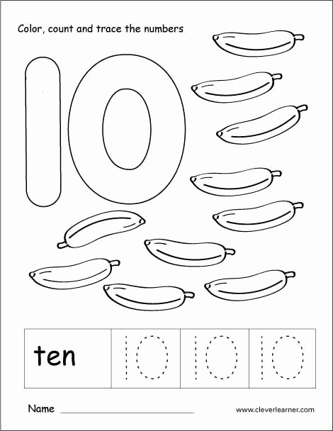 Number 10 Worksheets for Preschoolers Lovely Number 10 Tracing and Colouring Worksheet for Kindergarten