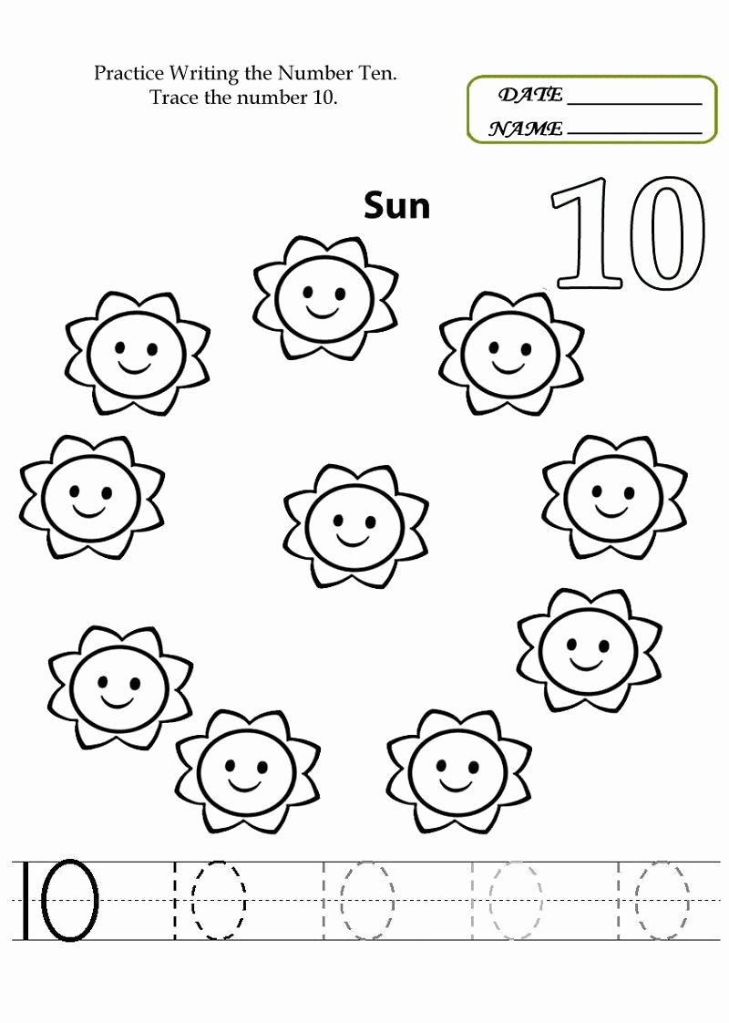 Number 10 Worksheets for Preschoolers top Number 10 Worksheets to Print