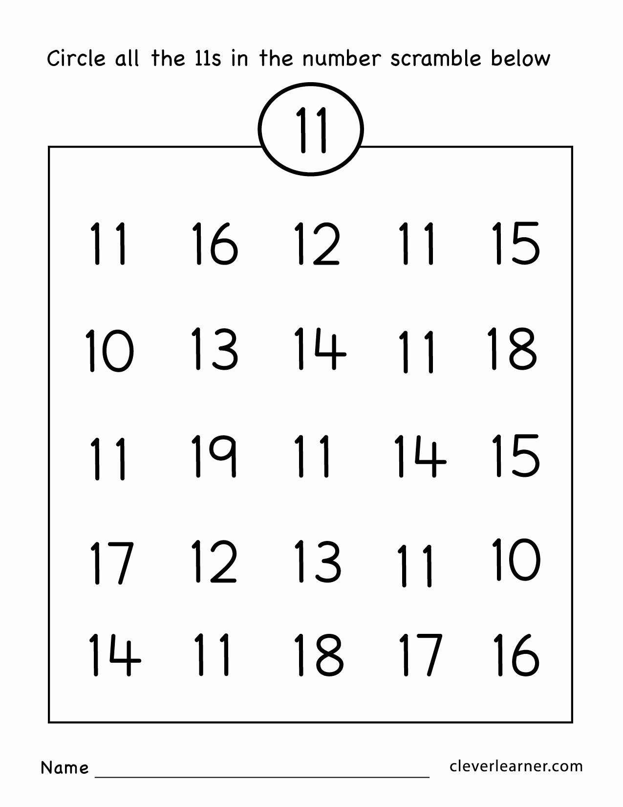Number 19 Worksheets for Preschoolers Kids Number Eleven Writing Counting and Identification Printable