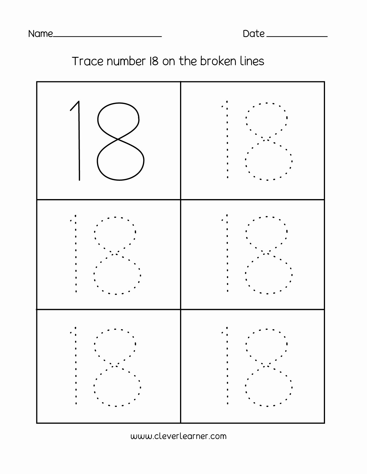 Number 19 Worksheets for Preschoolers Lovely Number 18 Writing Counting and Identification Printable