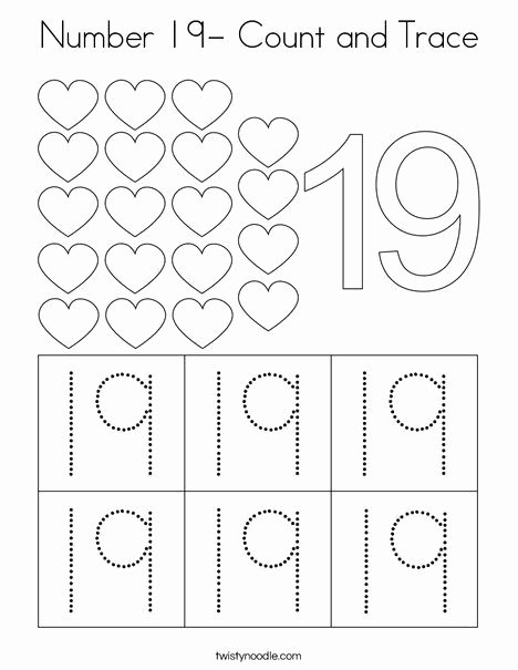 Number 19 Worksheets for Preschoolers Printable Number 19 Count and Trace Coloring Page Twisty Noodle In
