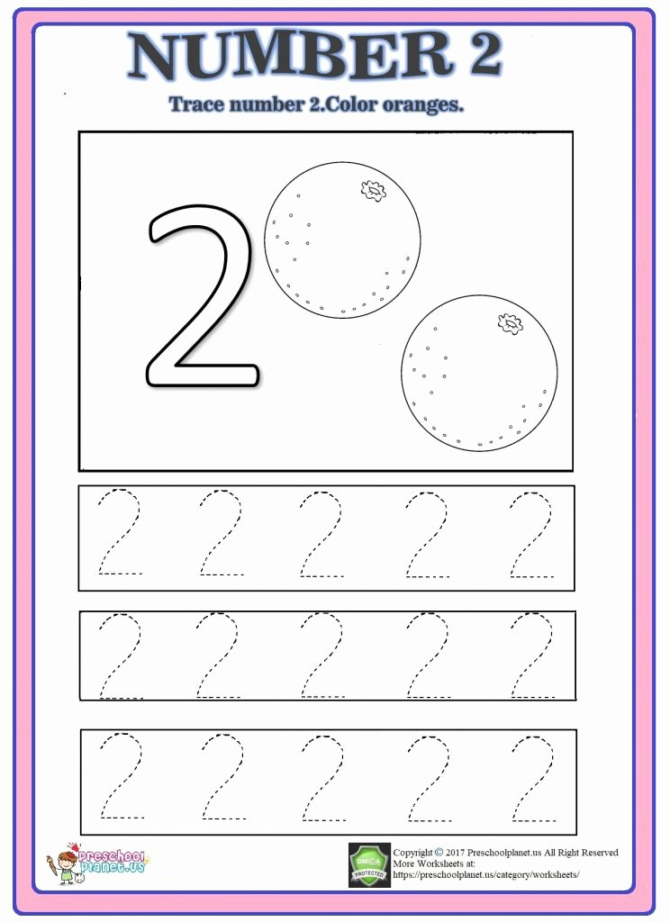 Number 2 Worksheets for Preschoolers Ideas Number Trace Worksheet Preschoolplanet Worksheets for
