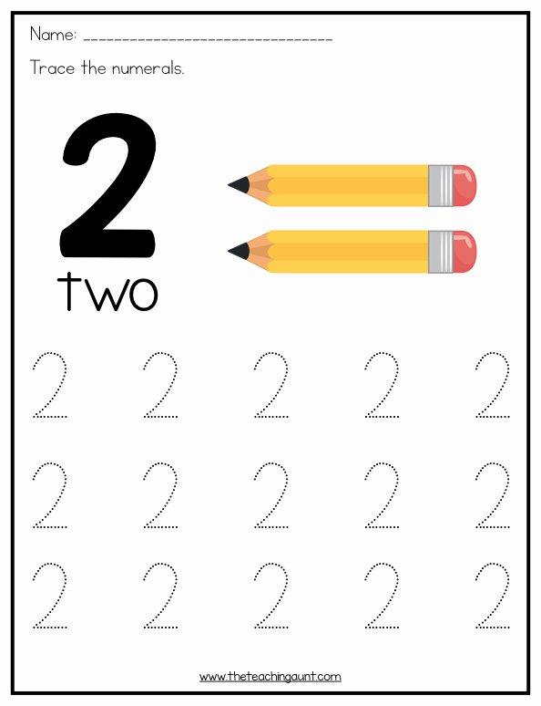 Number 2 Worksheets for Preschoolers Printable Number Tracing Worksheets for Preschoolers the Teaching Aunt