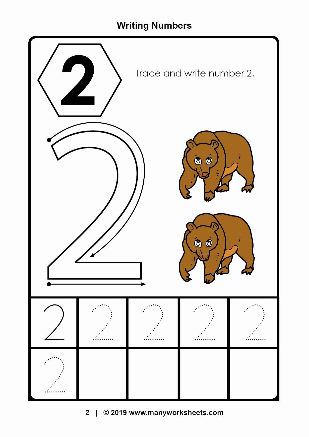 Number 2 Worksheets for Preschoolers Printable Tracing Number Worksheets for Kindergarten Preschool Ratio