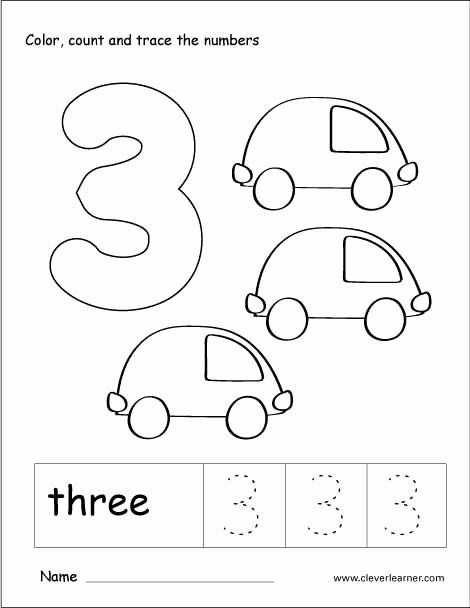 Number 3 Worksheets for Preschoolers Kids Number 3 Tracing and Colouring Worksheet for Kindergarten