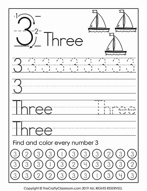 Number 3 Worksheets for Preschoolers Kids Preschool Number Worksheets Preschool Mom