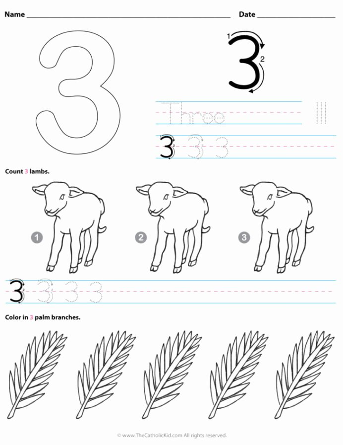 Number 3 Worksheets for Preschoolers New Archives the Catholic Kid Coloring and Games Number