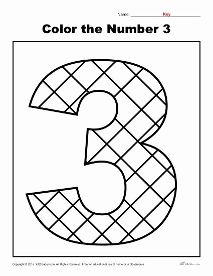 Number 3 Worksheets for Preschoolers Printable Color the Number 3