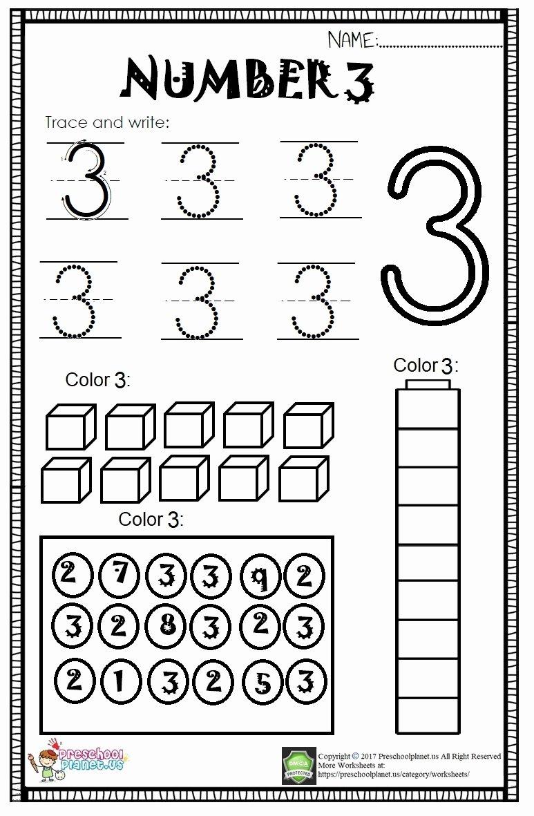 Number 3 Worksheets for Preschoolers Printable Number 3 Worksheet for Kids – Preschoolplanet