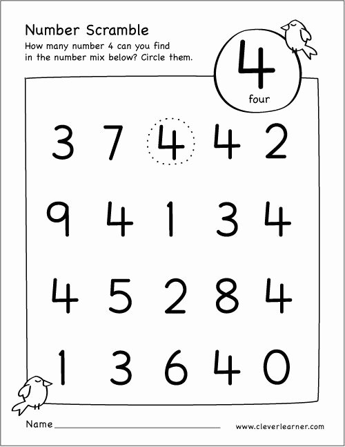 Number 4 Worksheets for Preschoolers Best Of Free Number Scramble Activities for Preschool Kids Numbers