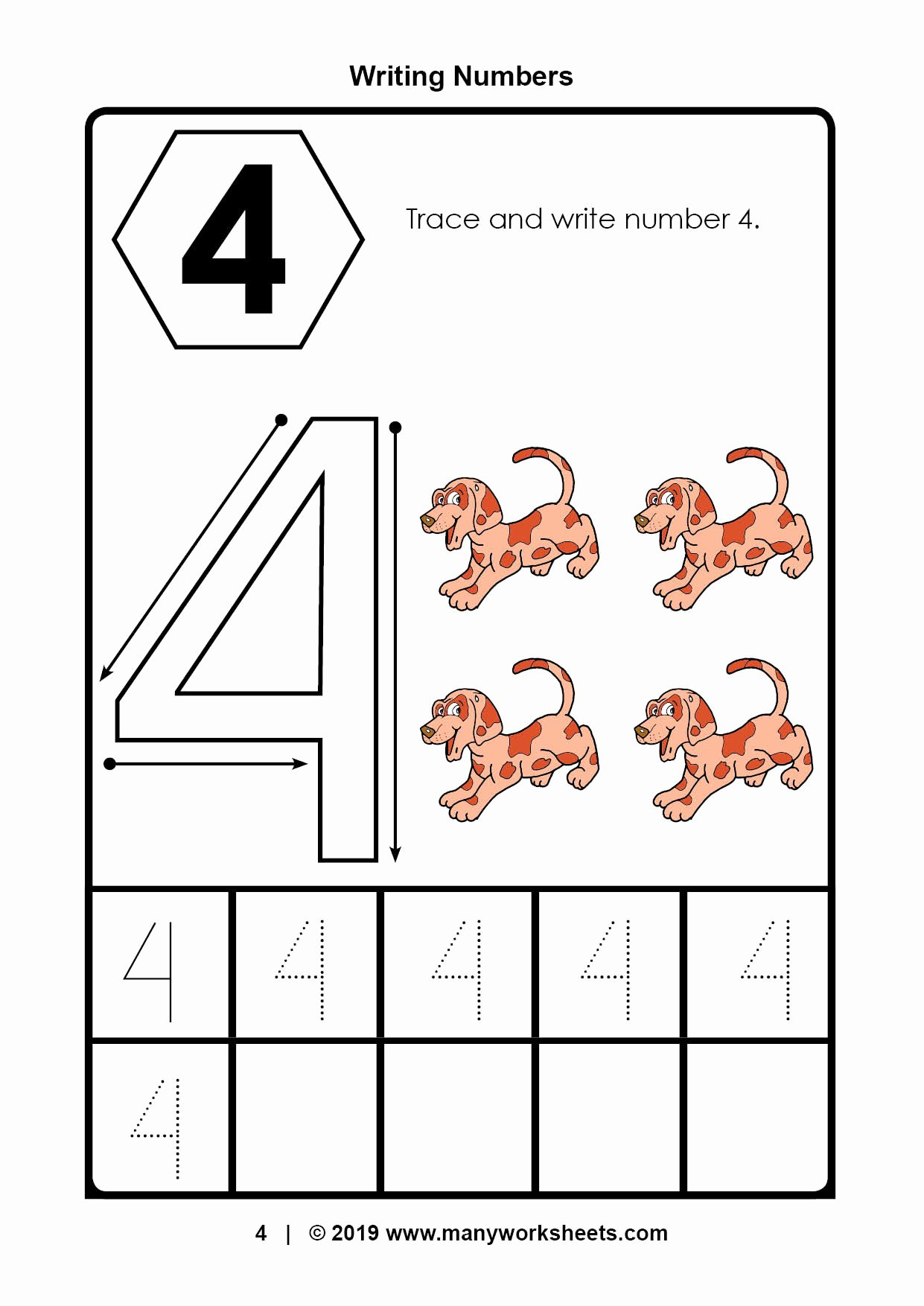 Number 4 Worksheets for Preschoolers New Tracing Number 4 Worksheets for Kindergarten