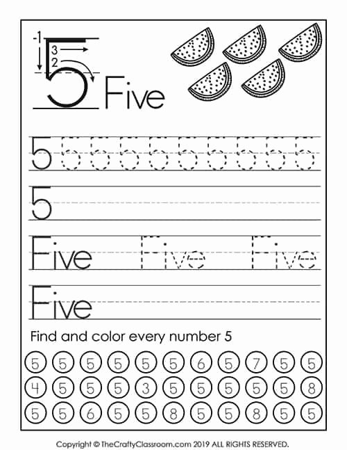 Number 5 Worksheets for Preschoolers Free Preschool Number Worksheets Mom for Mon Core Math 5th
